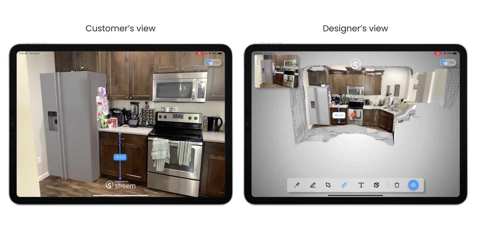 Interactive video use case from the customer's view and designer's view in an iPad