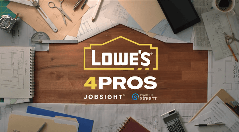 Lowe's 4Pros powered by Streem logo over a worktable